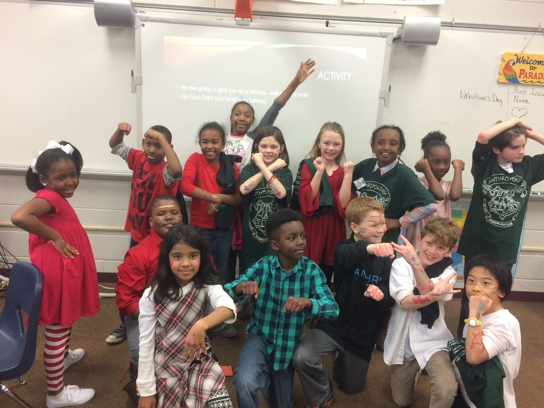Tuscaloosa Magnet School Elementary students pose for the camera to show off their new body modifications